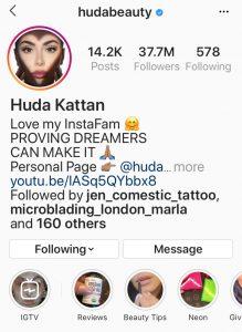 Instagram Handle of Huda Beauty