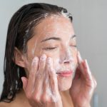 washing with gentle facial cleanser